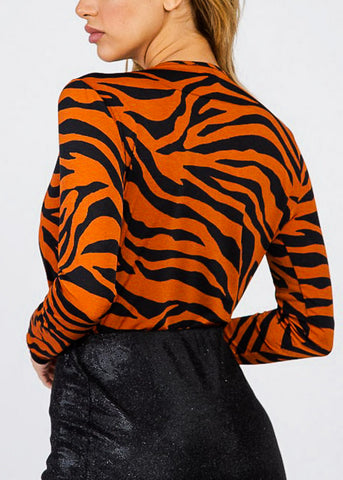 Image of Deep V Neck Animal Print Brick Bodysuit