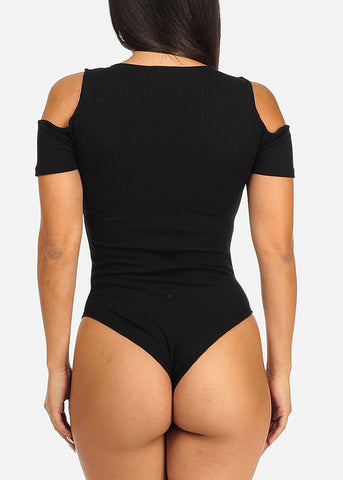 Cold Shoulder Black Rib Knit Bodysuit
