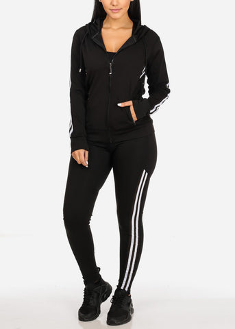Black and White Workout Leggings Top Jacket (3 PCE SET)