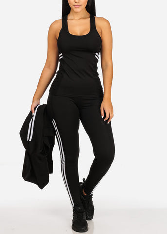 Women's Juniors Stripe Fishnet Detail Black And White Workout Leggings Top Jacket (3 PCE SET)