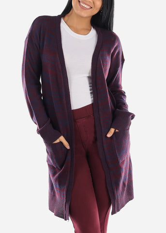 Image of Stripe Burgundy Knitted Maxi Cardigan
