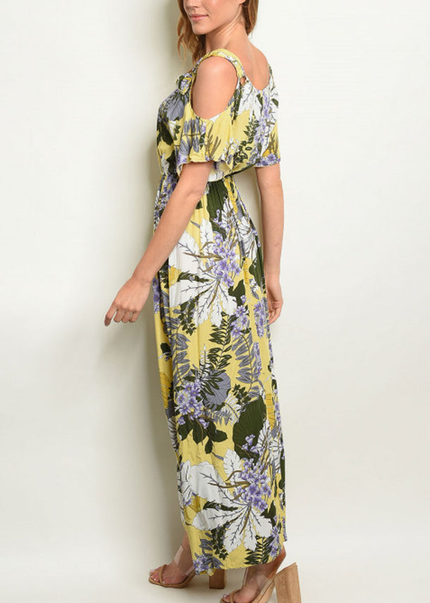 Cold Shoulder Floral Lime Maxi Dress