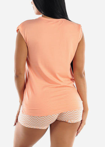 Peach Printed Top & Shorts (2 PCE PJ SET)