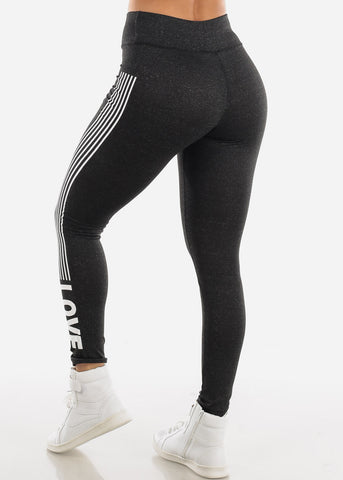 "Activewear Charcoal Stripe Leggings ""Love"""