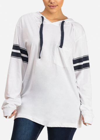 Image of White Pullover Sweatshirt W Hood