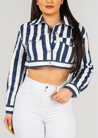 Women's Junior Ladies Stylish Trendy Button Up Navy And White Stripe Long Sleeve Cropped Jacket Top