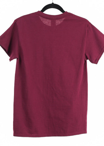 "Image of Burgundy Graphic Top ""Be Happy"""