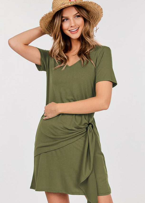 Buckle Detail Olive Dress