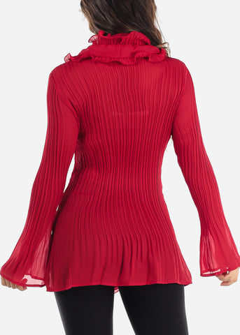 Image of Ruffled Red Pleated Blouse