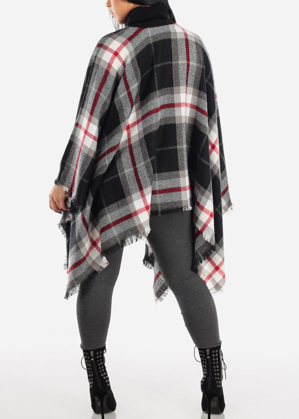 Black Plaid Turtleneck Poncho