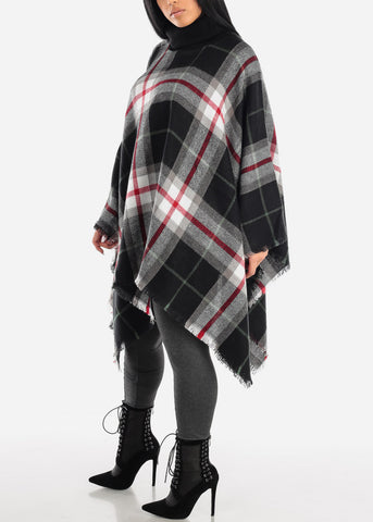 Image of Black Plaid Turtleneck Poncho