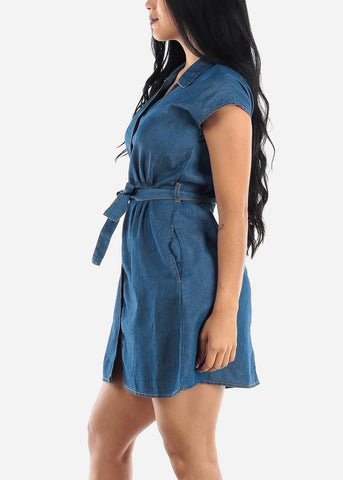 Image of Dark Wash Casual Denim Dress