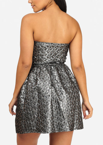 Image of Sexy Strapless Sweetheart Neckline Shiny Print Charcoal Dress
