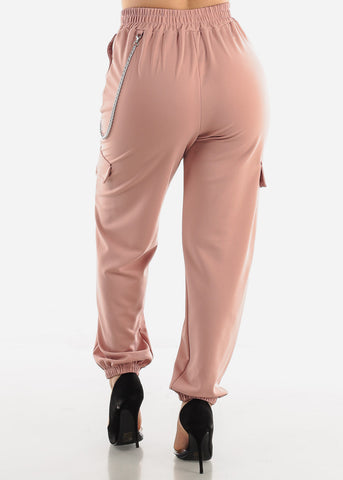 Image of Peach Utility Chain Pants