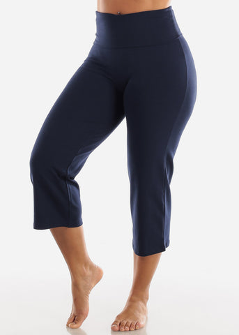 Navy Cotton Spandex Fold Over Crop Yoga Pants