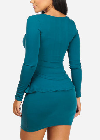 Image of Ruffle Detail Bodycon Teal Dress