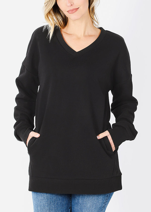 Black V-Neck Sweatshirt W Pockets