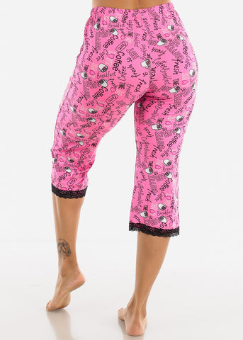 Stretchy Fuchsia Printed Pajama Pants