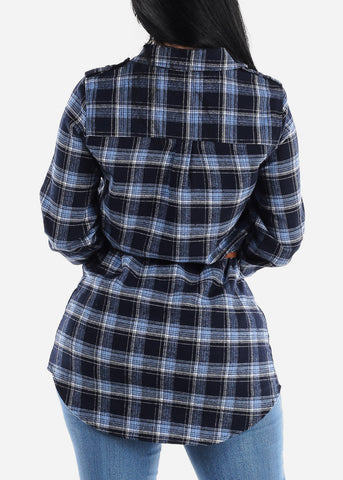 Image of Blue Plaid Tunic Top
