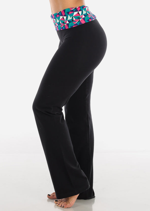Geometric Print Black Yoga Pants