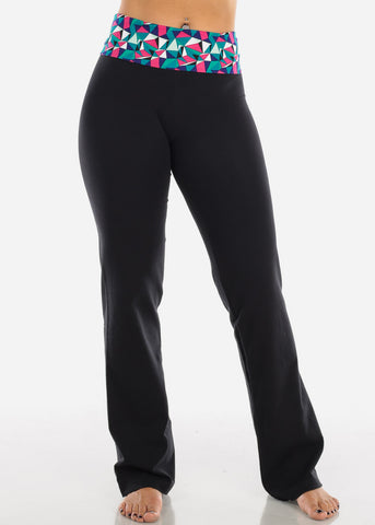 Image of Geometric Print Black Yoga Pants