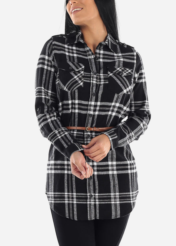 Black Plaid Tunic Top
