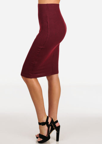 Image of Women's Junior Ladies Professional Business Office Career Wear Sexy Pencil Pull On Stripe Wine Red Midi Skirt