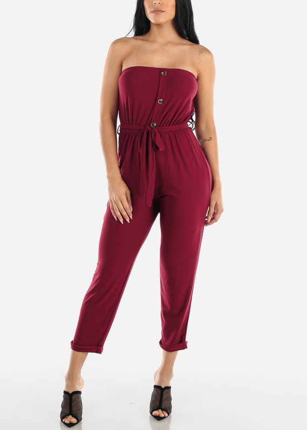 Buttons Front Strapless Burgundy Jumpsuit