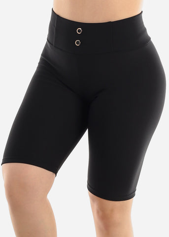 Black Slip On Shorts