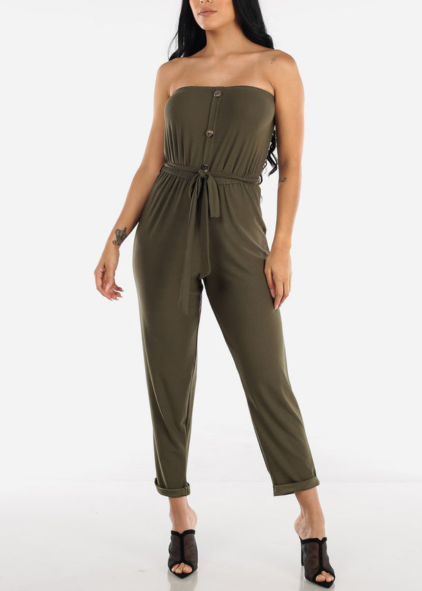 Buttons Front Strapless Olive Jumpsuit
