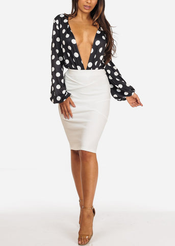 Image of Sexy Long Sleeve Black Polka Dot Plunge V Neckline Bodysuit