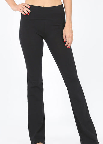 Fold Over High Rise Black Yoga Pants