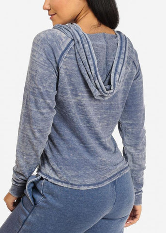 Affordable Casual Wear Blue Sweater W Hood