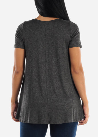 Strappy Neckline Charcoal Tunic Top