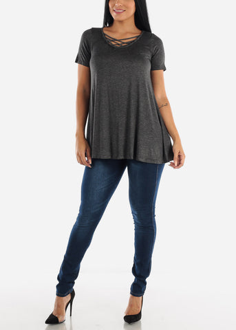 Image of Strappy Neckline Charcoal Tunic Top