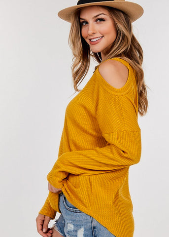Image of Waffle Cold Shoulder Mustard Top