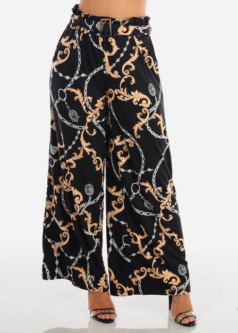 Sexy Trendy Ultra High Waisted Black Printed Wide Legged Palazzo Pants For Women Ladies Junior On Sale Miami Style 2019 New Modaxpress