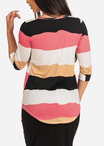 Women's Junior Ladies Dressy Stretchy Stylish 3/4 Sleeve Pink Stripe V Neckline Top With Necklace