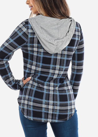 Image of Blue Plaid Flannel Hoodie