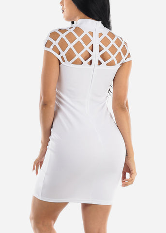 Cut Out Neckline White Bodycon Dress