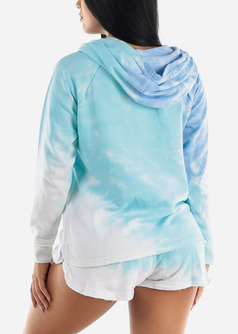 Image of Blue Tie Dye Long Sleeve Hoodie