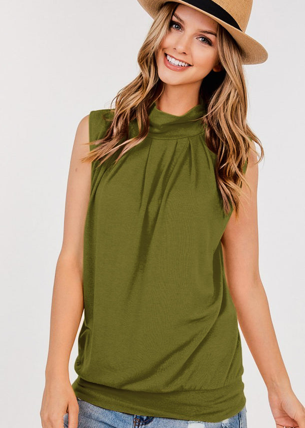 High Neck Pleated Olive Top