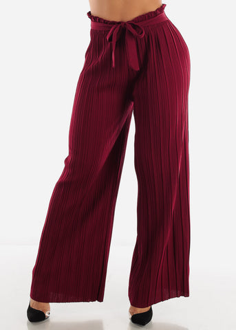 Image of High Waist Burgundy Palazzo Pants