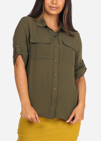 Women's Junior Ladies Stylish Lightweight Short Sleeve Chiffon Button Up Dressy Olive Blouse Top
