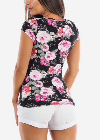 Cute Stylish Sexy Black Floral Print Short Sleeve Top For Women Ladies Junior On Sale