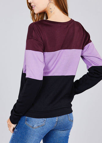 Image of Round Neckline Long Sleeve Multi Color Purple Stripe Pullover