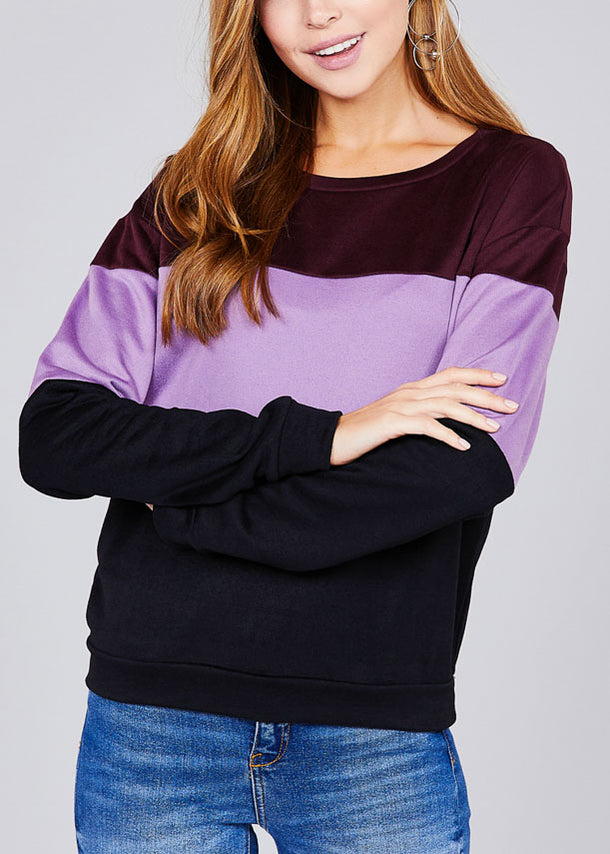 Round Neckline Long Sleeve Multi Color Purple Stripe Pullover