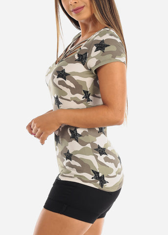 Cute Stylish Sexy Black Camouflage Army Print Short Sleeve Top For Women Ladies Junior On Sale