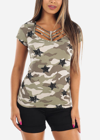 Image of Cute Stylish Sexy Black Camouflage Army Print Short Sleeve Top For Women Ladies Junior On Sale
