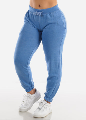 Blue Drawstring Fleece Sweatpants